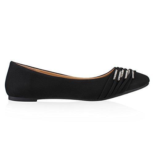 Klassische Damen Strass Ballerinas Elegante Slipper Übergrößen Metallic Glitzer Flats Schuhe 116545 Schwarz 37 Flandell