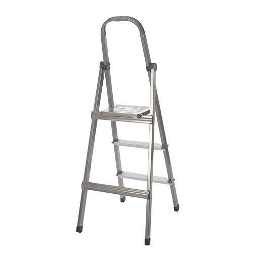 KingSaid - Escalera plegable de aluminio de 3/4 peldaños con plataforma antideslizante