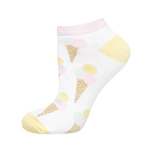 soxo Damen oder Mädchen Sneaker Socken | 11 Lustige Verschiedene Motive | Füsslinge Söckchen für Frauen | Grössen 35-40 (Eis) -