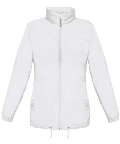 ShirtInStyle Basic Femme Veste/blouson Coupe-vent Imperméable veste Imperméable avec capuche Blanc