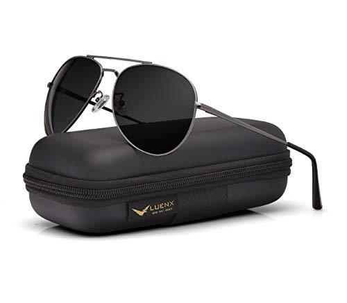 LUENX polarisierte Sonnenbrille für Herren und Damen, mit Etui, UV-Schutz 400, 60 mm Gr. L, 18-Grey