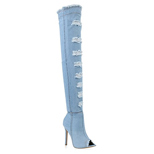 Damen Overkness Denim Stiefel Peeptoes Stiletto Langschaftstiefel Used High Heels Jeans Denim Schuhe 142477 Hellblau Denim Used 39 | (Jean Kostüme)