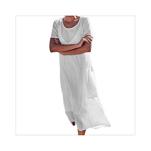 Vintage Women Long Dress Boho Solid Ladies Pockets Short Sleeve Cotton and Linen Easy Sandy Beach Maxi Dress Vestidos de Verano White XL -