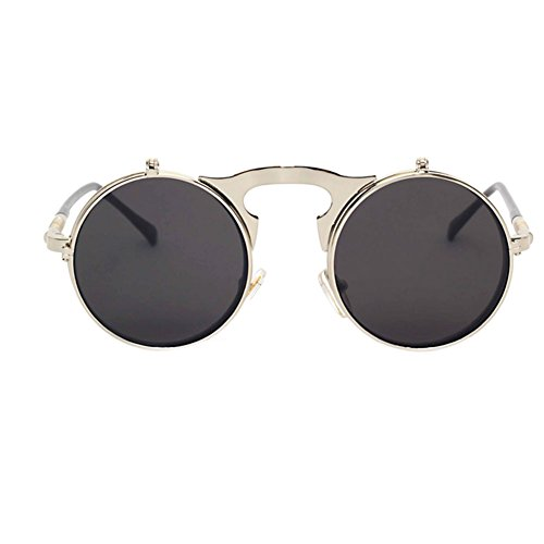 Haodasi Metall-Flip-Up-Objektiv Sonnenbrille Fashion Retro Runde Sonnenbrille
