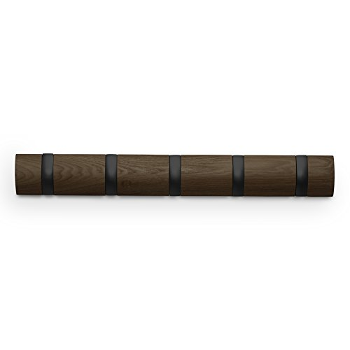 umbra-flip-wood-metal-wall-mounted-hook-system-with-5-hooks-black-walnut-white