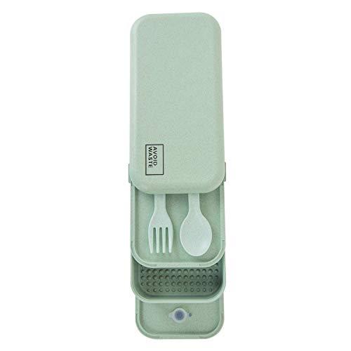 avoid waste Nachhaltige Lunchbox ♻ Die Premium Aufbewahrungsbox mit Deckel und Besteck im Bento-Box Stil mit Zwei Fächern. Biologisch abbaubar, plastikfrei, BPA frei, auslaufsicher - 5