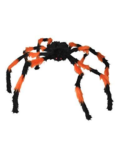 toybakery - Halloween Dekoration, Deko haarige schwarz-orange Riesen-Spinne, 125cm, Spider Black orange, ideal für Jede Halloween Party / Feier, Orange