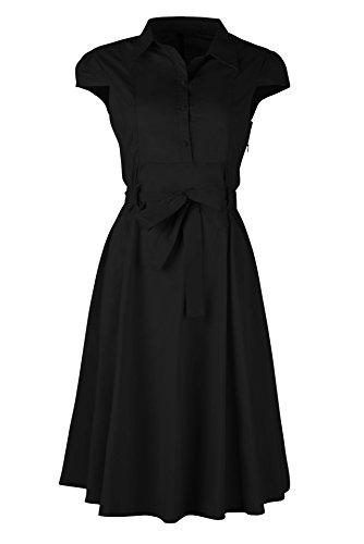 Femme Chemise Manche Courte Tunique Mini Robe T-Shirt Tops Haut Blouse Avec Ceinture Noir