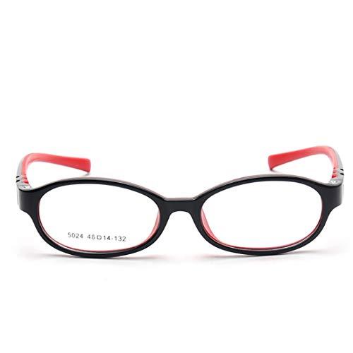 Nalkusxi Mode Kinder Silikon Brillengestell Nicht verschreibungspflichtige Brille Männer, Frauen (Color : Red)