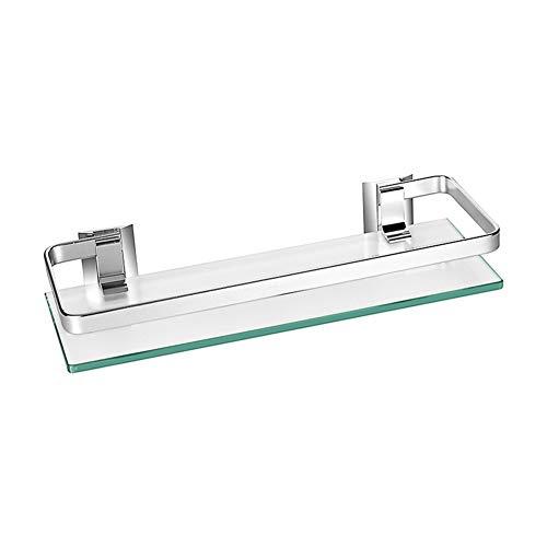 Homeself spessore vetro temperato scaffale per bagno cucina mensola da parete in alluminio, alluminio, 1-tier