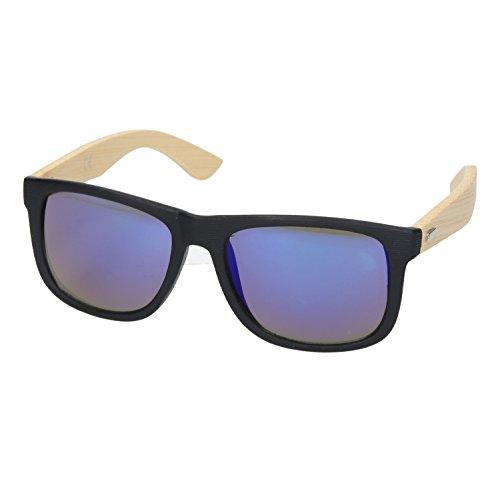 Bambus Sonnenbrille Wayfarer Style Holzbrille UV400 Damen & Herren Unisex mit Bügel aus Bambus | Blau-Violett Verspiegelt