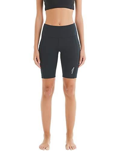 Polyester-kurze Tasche (COOLOMG Damen Leggings Yoga Hose Sporthose Laufhose Training&Fitness mit Taschen XS-L MEHRWEG (S, Schwarz (kurz, mit Seitentaschen)))