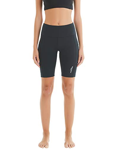 COOLOMG Damen Shorts Leggings Caprihose Yoga Sport Training Fitness mit Taschen Schwarz M