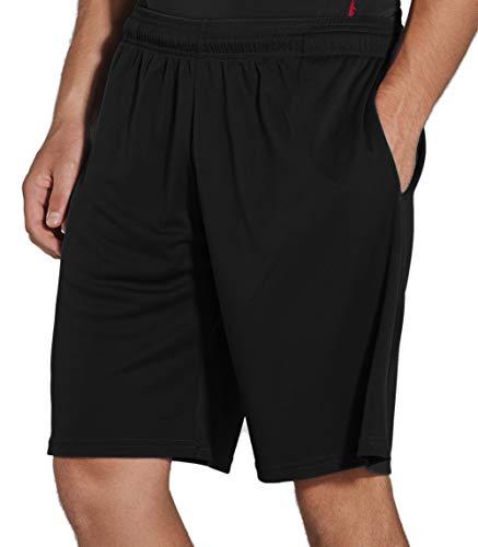 KomPrexx Sporthose Herren Kurz mit Taschen - SCHNELL TROCKNEND - Fitness Sport Shorts mit Kordelzug Kurze Trainingshose (Black,M)