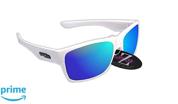 RayZor Professional leichte UV400White Sports Wrap Golf Sonnenbrille, mit A 1Stück belüftet Blau Iridium verspiegelt Blendfreie Objektiv