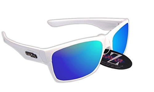 RayZor Professional leichte UV400White Sports Wrap Golf Sonnenbrille, mit einem blau Iridium verspiegelt Blendfreie Objektiv