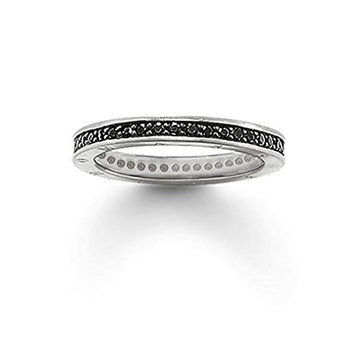 Yuan Ou Anelli Single Row Black Ring,Thomas Style Glam Fashion Good Jewerly for Women,TS Gift in 925 Sterling Silver,Super Offerte 7 Come Mostrato