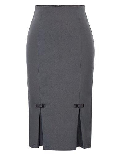 Belle Poque Femme Midi Jupe Crayon Elastique avec Noeuds Papillon Gris Froncé S BP587-2