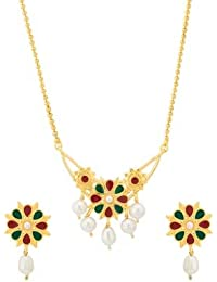 Voylla Traditional Alloy With Yellow Gold Plated Pearl Beads Necklace Sets For Women - B077MKDTZ2