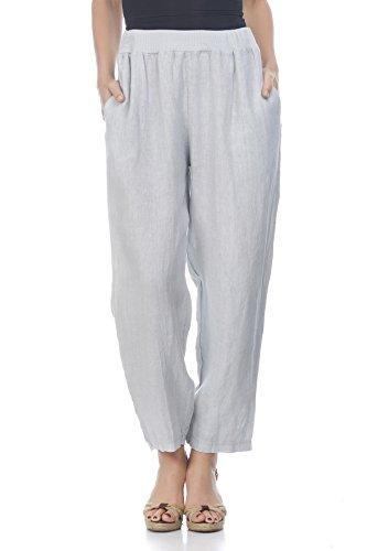 Laura Moretti - Leinenhose mit breiter elastischer Taille (Elastische Jersey Pants Taille Knit)
