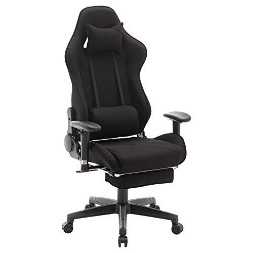 WOLTU® Racing Stuhl BS21sz Gaming Stuhl Bürostuhl Schreibtischstuhl Sportsitz mit Kopfstütze und Ledenkissen, Armlehne verstellbar, mit Fußstütze, Stoffbezug, höhenverstellbar, Blau - Verstellbare Armlehnen