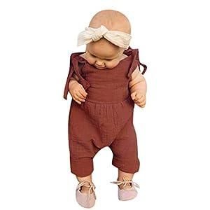 SUDADY Pelele sin Tirantes Sling Mangas para Niño Niña Camisa Halter Body Pelele de Suave algodón Sensación Transpirable Adecuado para recién Nacido 7