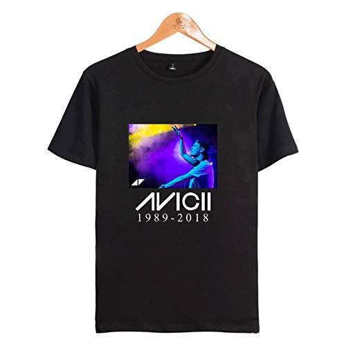 INSTO T-Shirt Mode 3D Drucken Kurz Ärmel T-Stück Dj Avicii Gedruckt Unterhemd Unisex Tragen Gemütlich/Schwarz/L