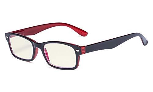Eyekepper-Federscharniere UV-Schutz, Blendschutz, Anti-Blau-Strahlen, Kratzfestes Objektiv Computerbrillen (Gelb getönte Gläser, Schwarz-Rot) +0.0