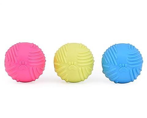 DSstyles Hund Bälle 3 Stück Bunte Gummi Hund Chew Spielzeug Quietschen Hund Chew Bälle für Haustiere Zähne Reinigung Training Spielen - Verschiedene Farben