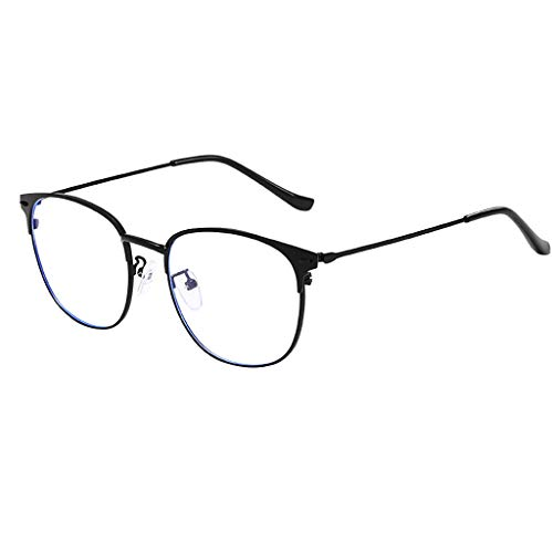 CANDLLY Brille Damen, Unisex Lichtblock Brille Runde Optische Brillen Brillen ohne Brillengestell Retro Matte Frau flachen Spiegel Metall Gläser Zubehör(Schwarz,One Size