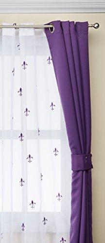 BNF Home Serenta Fleur de Lis Thermo Isolierte Verdunklungsvorhänge 6Stück Set, 137,2x 160cm Burnt Orange, Imperial Purple (Violett), 54