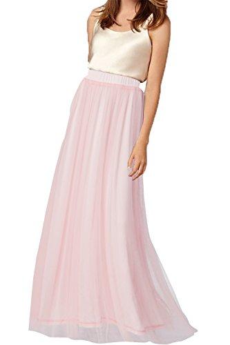 uideazone Frauen Tüll Elastische Taille Elegante Röcke Lange