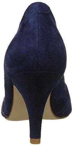 Petite Mendigote Damen Bogo Peep-Toe Pumps Blau (Marine Mar)