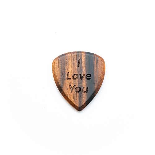 I Love You | 4 Packung handgearbeiteter Gitarrenpick für Gitarrist | Großes Geschenk, zum Ihrer Liebe und Anerkennung zu zeigen Scharfe Spitzhacke aus Ebenholz natürlich und umweltfreundlich
