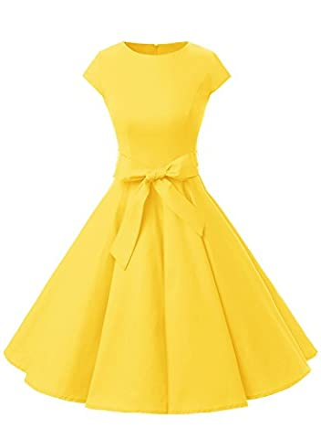 Dressystar Vintage 1950s Polka Dot and Solid Color Prom Dresses Cap-sleeve Yellow S