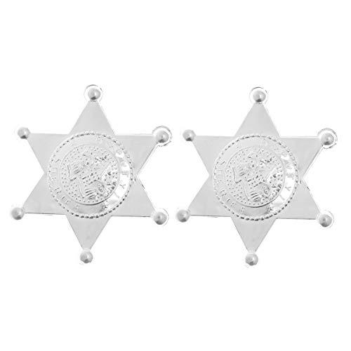 ff Stern Kunststoff Sheriff Abzeichen Sheriff Cowboy Kostüm Zubehör für Kinder Fasching Karneval (Silber) ()