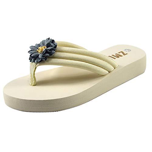 Mitlfuny Damen Sommer Sandalen Bohemian Flach Sandaletten Sommer Strand Schuhe,Art- und Weisefrauen Beleg-auf Flipflops-Ebenen-Kausale Blumen-Hefterzufuhr schiebt Schuhe - Glitter Nike Frauen