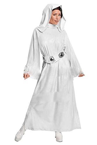 Xiemushop Damen Cosplay Kostüm Prinzessin Leia weißes Kleid mit Gürtel-Große Kapuze, am Rücken befindet Sich EIN Reißverschluss