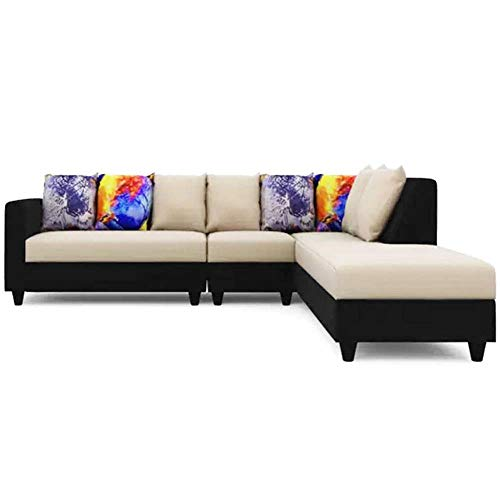 CasaStyle - Casper Six Seater RHS L Shape Sofa Set (Cream-Black)