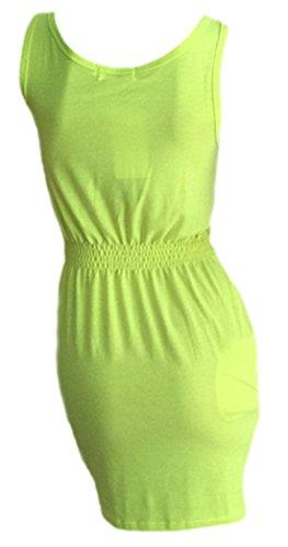 erdbeerloft - Damen kurzes Sommer Kleid, long Top, Neon, 34-40, Viele Farben Gelb