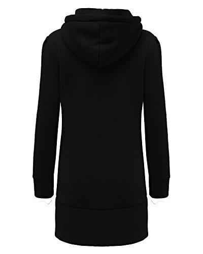 ZANZEA Femme Automne Col Roulé Sweats à Capuche Coton Pull Hoodie Hauts Veste Sweatshirt Pullover Tops Jumper Noir