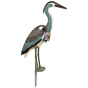 Defenders Decoy Heron (Standing Grey Heron Deters Bird Pests from Attacking Garden Ponds and Fisheries), 30 inch (76 cm)