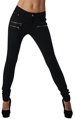 Freyday Modische Bequeme Damen Jeggings Leggings Hüfthose Stretch Slimfit (Schwarz, XS / 34)
