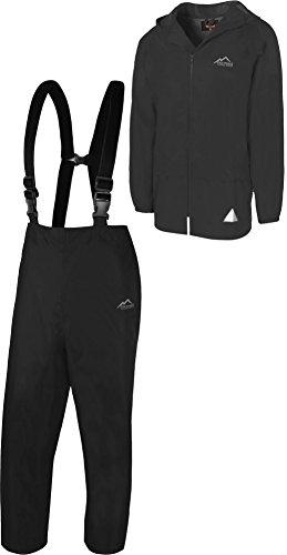 normani Regenanzug Set aus Regenjacke und Hosenträgerhose - 100% wasserdicht, absoluter Wetterschutz Regenbekleidung Farbe Schwarz Größe M