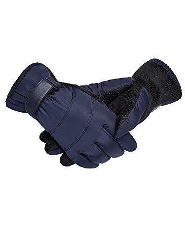 gloves Unten Baumwolle Handschuhe, Männlich Winter Warm Motorrad Reiten Wasserdicht Kalt Plus Samt Verdickung Outdoor-Ski-Handschuhe,Blau,Einheitsgröße