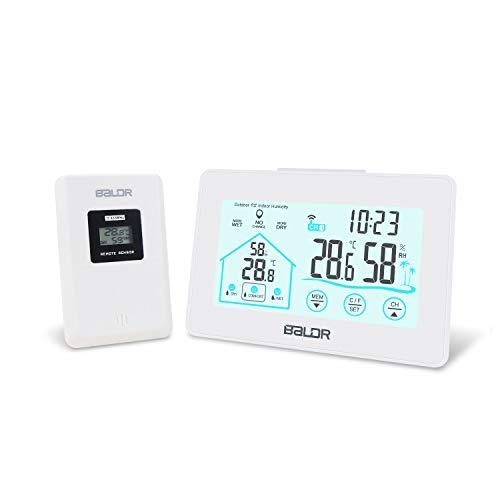 Mitening Wetterstationen Innen und Außentemperatur Funk mit Wettervorhersage, Wetterstation Funk mit Außensensor Funkwetterstation LCD Thermometer Ausen Temperatur und Luftfeuchtigkeitsmesser Uhrzeit