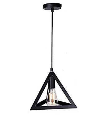 Citra AC110V E26/E27 Single Head Vintage Black Metal Triangle Shape Hanging Light Pendant Ceiling Light Lamp Industrial Retro Country Style led bulb Dining Hall Restaurant Bar Cafe Lighting Use (No bu at amazon