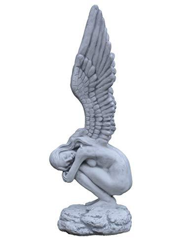 e Massive Steinfigur groß Engel mit Flügel aus Steinguss frostfest ()