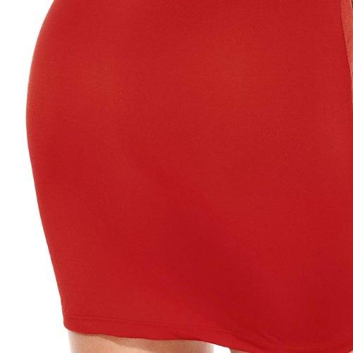 E-Girl dentelle Populaire Couture manches longues Cocktail Soirée Robe, Rose Rouge