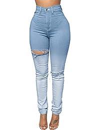 b88d992d2d17 Aleumdr Jeanshose Denim Loch Damen Slim Bleistift Hose Blaue Gerissen Loch  Zerrissene Jeans gerippte Skinny Stretch